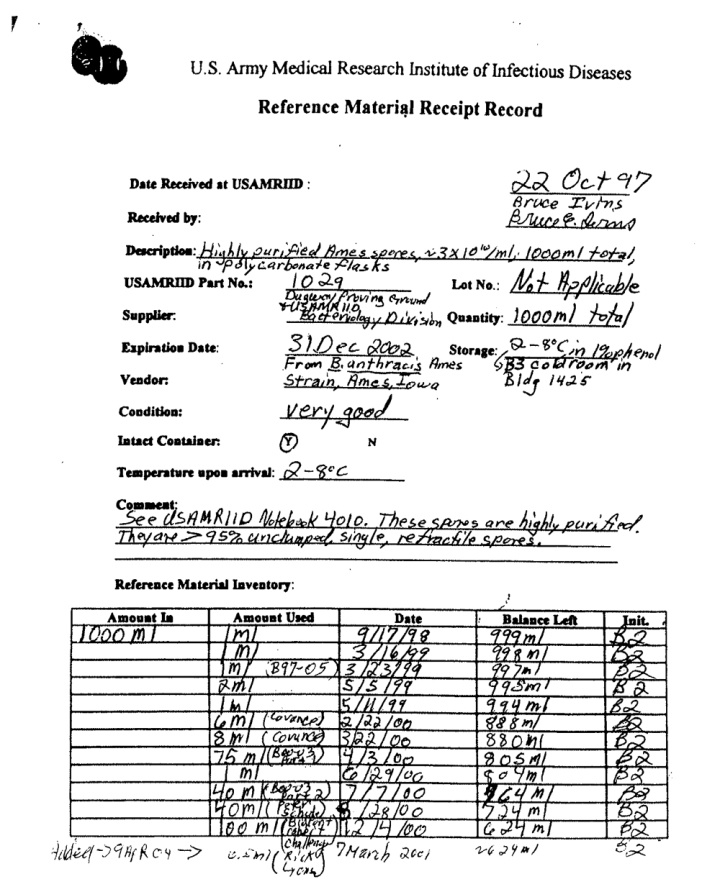 USAMRIID RMRR - Bldg 1425 - p.1 of 2