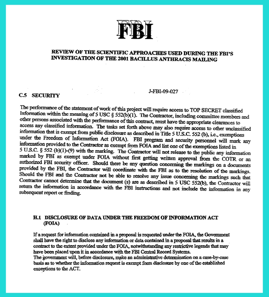 NAS-FBI contract extracts - FOIA disclosure