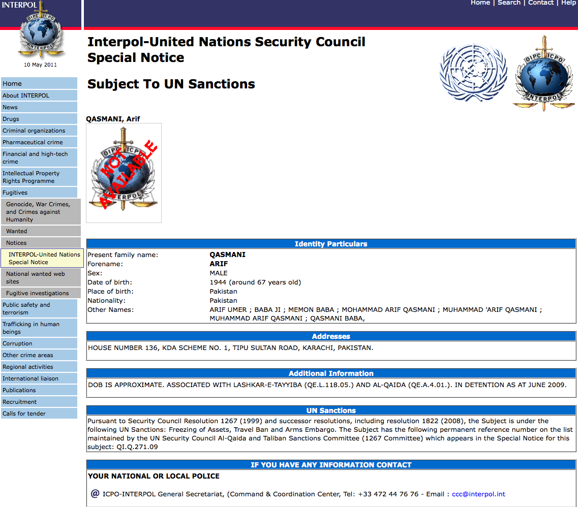 * Arif Qasmani: Interpolunited Nations Security Council Special Notice «  Case Closed €� What Really Happened In The 2001 Anthrax Attacks?