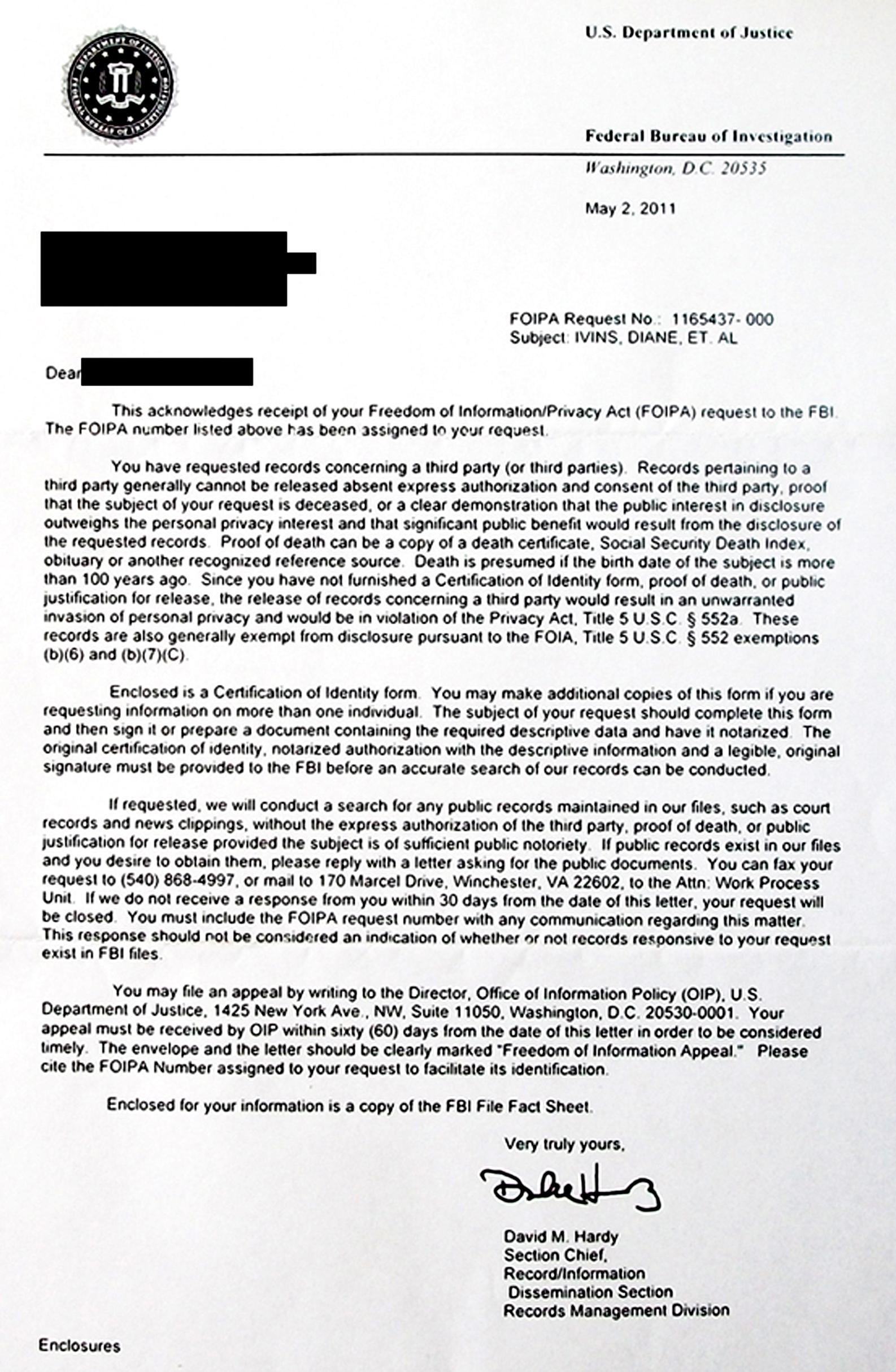 Blacklist Letter Format