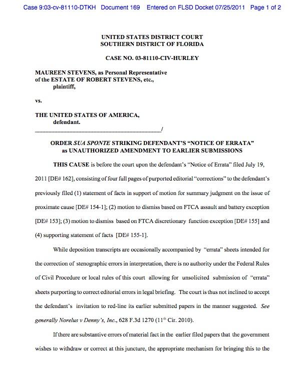 Judge strikes DOJ retraction in Stevens v  United States as