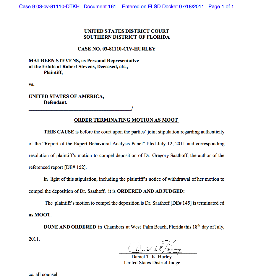 Order Terminating Motion [To Compel Deposition of Dr. Gregory ...