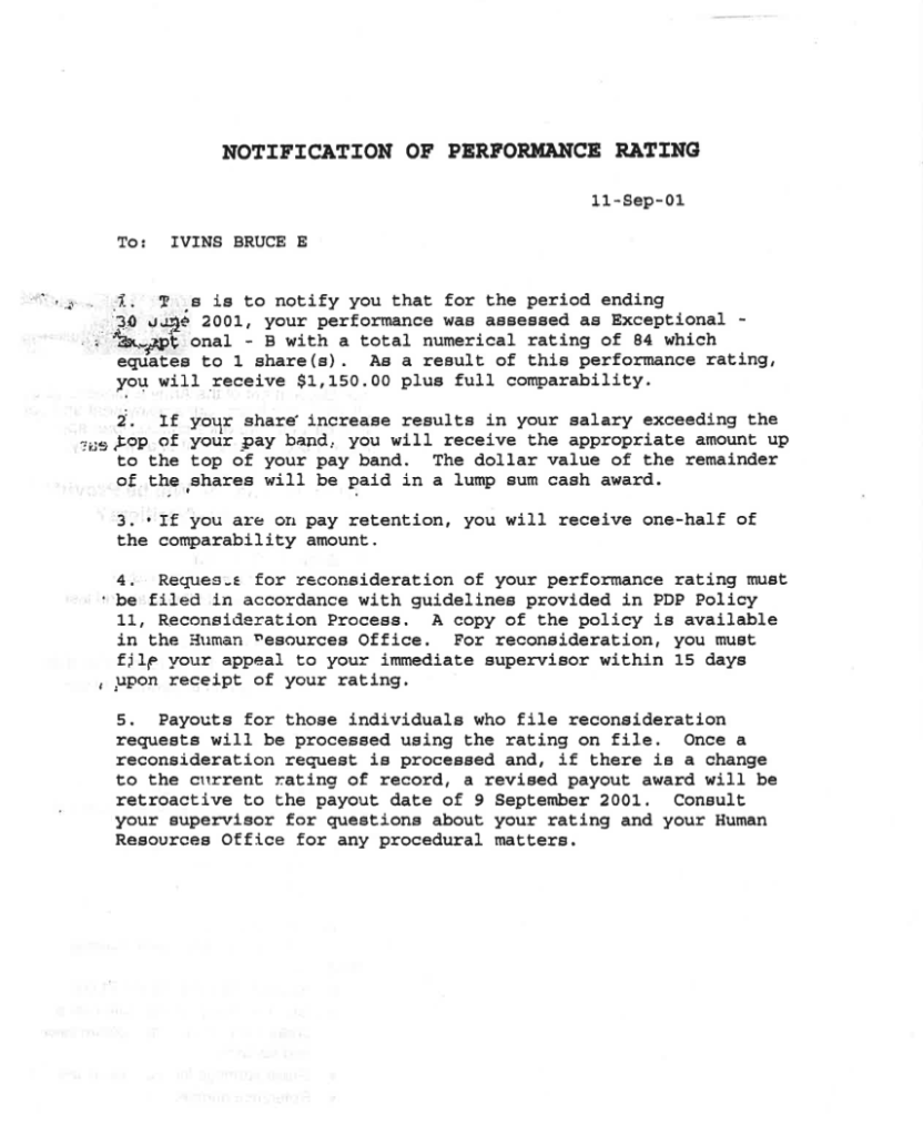 the bruce ivins timeline ivins also receives a performance rating letter