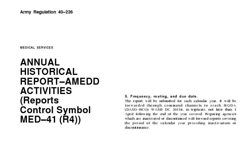 USAMRIID Was Required To Submit Its Annual Report Each Year To Army